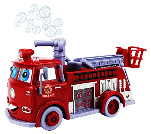 Cartoon Fire Rescue Pumper Bubble Blowing Bump & Go Battery Operated Toy Truck w/ Extending Crane, Lights & Sounds