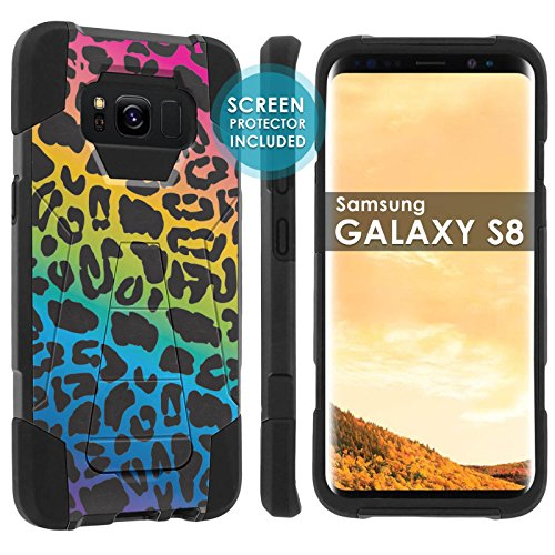 [POPCulture] Rugged Case For Samsung Galaxy S8 [Black/Black] Military Armor Case [KickStand] [Screen Protector]- [Rainbow Leopard] Print (Rainbow Screen Print)