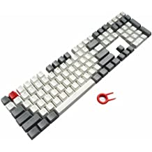 PBT Keycaps Backlit 109Key Set Doubleshot Cherry MX Key Caps Top Print with Keycaps Puller for 87/104/108 MX Switches Mechanical Gaming Keyboard (Gray White Combo)
