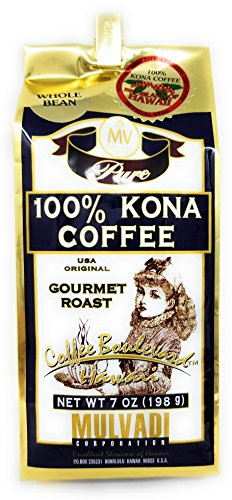 Mulvadi 100 Percent Kona Coffee Whole Bean 7 Ounce Gold Foil Bag with Bag Clip