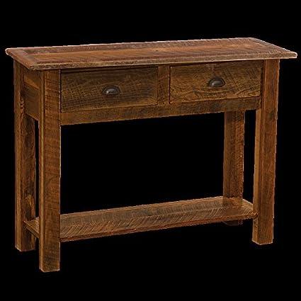 Amazon Com Barnwood Sofa Table With Two Drawers Real Wood Western