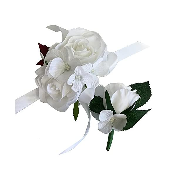 Angel Isabella 2pc Set of Wrist Corsage & Boutonniere -Rorse Hydrangea-Artificial Flower (White)