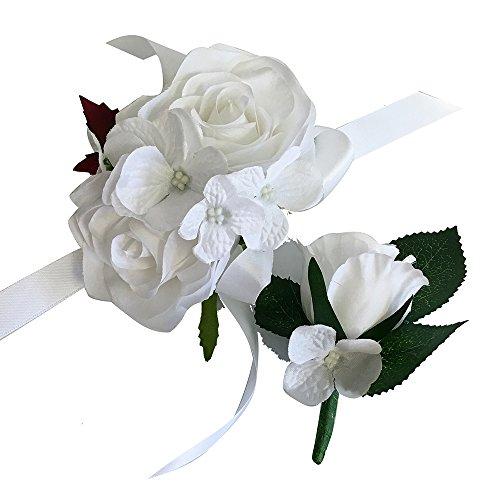 2pc Set of Wrist Corsage & Boutonniere -Rorse hydrangea-artificial flower (White) (Corsage White)