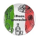 Mexico Sketch Cuisine Flag Round Cactus Dessert Plate Decorative Porcelain 8 inch Dinner Home