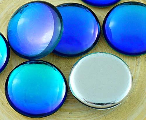 2pcs Crystal Rainbow Dichroic Vitrail Bermuda Blue Round Domed Czech Glass Cabochon 18mm
