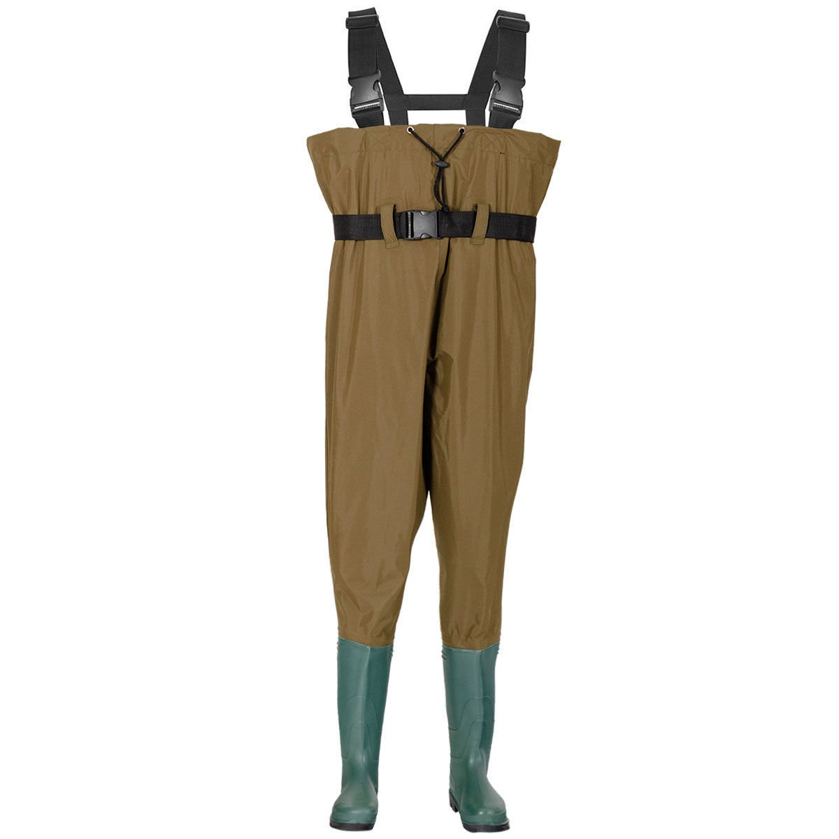Tangkula Waterproof Chest Waders Nylon PVC Bootfoot Chest Fishing Hunting Waders Adjustable Suspenders 9 to 12