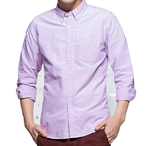 Purple Oxford - ERZTIAY Men's Casual Slim Fit Button Down Dress Shirt Long Sleeve Solid Oxford Shirt (Oxford Purple, Large)