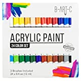 Acrylic Paint Set - B-Art-C 24 Vibrant Color Paint Kit includes 3 Paint Brushes -Non Toxic Paint for Canvas, Fabric, Glass, Nail Art, Rock Painting, Arts and Crafts for Girls & Boys
