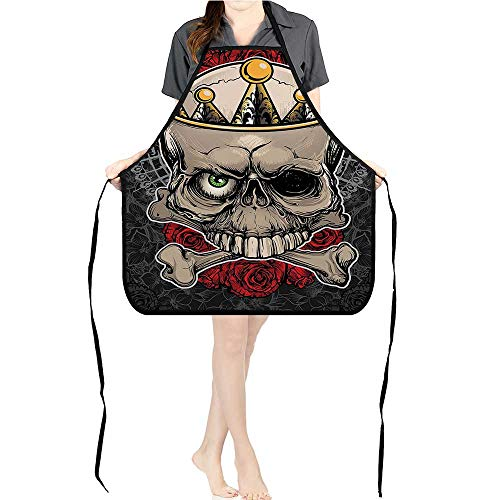 Jiahong Pan Adult Apron Waitresses Apron Crown ROS B Dead Halloween Tan Marigold Dark Grey red Cooking Kitchen Aprons for Women MenK26.6xG27.6xB10.2 ()