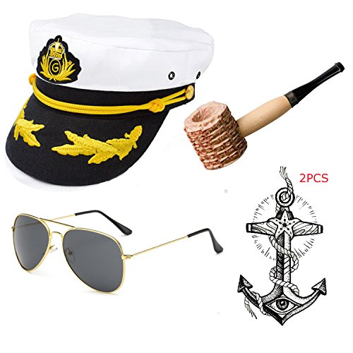 Yacht Captain & Sailor Costume Accessories Set - Hat,Corn Cob Pipe,Aviator Sunglasses,Vintage Anchor Temporary Tattoo (OneSize, C2) ()
