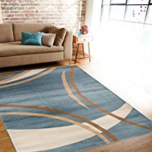 "Rug Decor Contemporary Modern Wavy Circles Area Rug, 5' 2"" by 7' 2"", Blue"