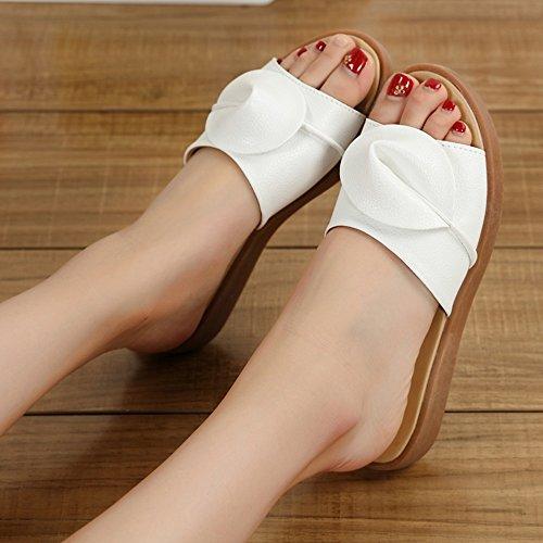 Materiale Fiori donna Moda Pantofole Scarpe da Bianca 5 UK3 piatto estiva Beige dimensioni Fondo EU36 qualità di CN35 FEIFEI 5 alta colori Opzionale Colore 0ExtPAwqq