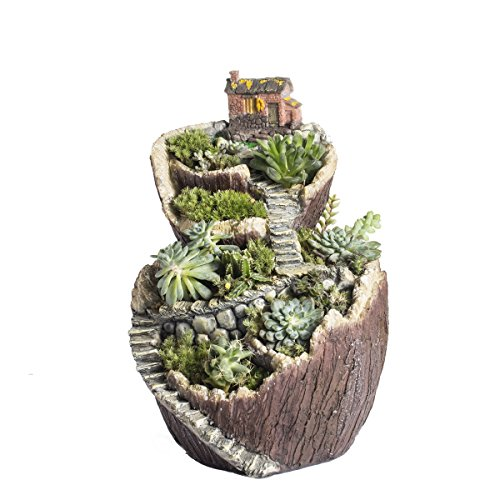 NCYP Flower Planter Pot Miniature Tree House Stump Cottage Broken Bucket, Large, Multicolor