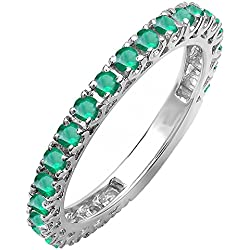 0.90 Carat (ctw) 14K White Gold Round Emerald Ladies Eternity Sizeable Stackable Anniversary Band