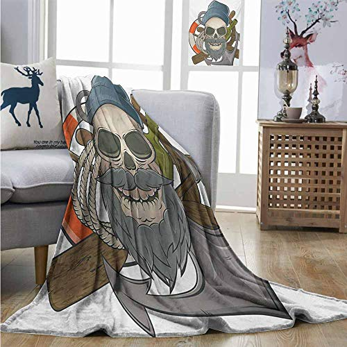 (Homrkey Lightweight Blanket Skull Illustration of Sailor Old Skull with Beard Mascot Nautical Theme Skeleton Lifebuoy Blankets Queen Size W54 xL84 Multicolor)