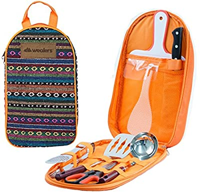 Camp Kitchen Utensil Organizer Travel Set - Portable 8 Piece BBQ Camping Cookware Utensils Travel Kit with Water Resistant Case Cutting Board Rice Paddle Tongs Scissors Knife and Bottle Opener
