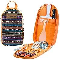 Camp Kitchen Utensil Organizer Travel Set - Portable 8...