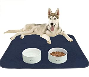 KOOLTAIL Waterproof Dog Food Mat Non-Slip 2 Pack - Absorbent Dog Bowl Mat Large Dogs Feeding Mat Washable Puppy Pee Pads for Dogs Doggy Cats Reusable