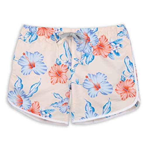 Summer Pink Womens Board Shorts Beach Quick Dry Fabric Swim Slim Trunks Ocean Travel Sports XL-34IN(XL, Floral-Pink) (Floral Boardshorts)