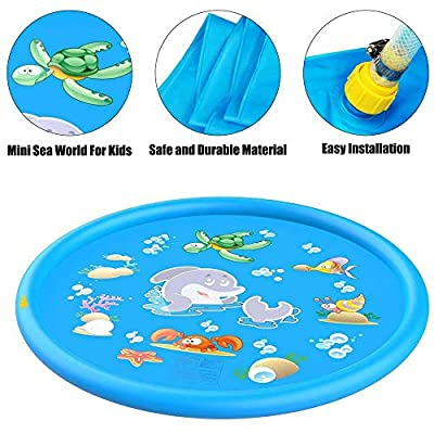 170Cm Kid Inflatable Splash Play Pool Fun Water Playing Sprinkler Mat Yard Outdoor Summer PVC Mini Round Spray Swimming Pool: Home & Kitchen