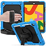 iPad 10.2 2019 Case, FANSONG Full-Body Rugged Protective Shockproof Cover with Screen Protector Pencil Holder 360 Rotating Kickstand & Hand Strap Shoulder Strap for iPad 7th Generation, Light Blue