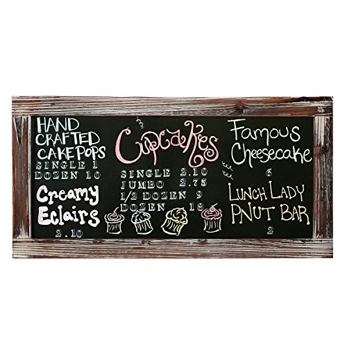 Style Chalkboard - 25 X 12 Rustic Style Wood Framed Erasable Chalkboard Message Memo Board, Cafe Menu Sign