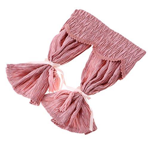 Perfk 1/12スケール ドールハウス飾り リビングルーム家具 カーテン ミニチュア アクセサリー 3色 - ピンクの商品画像