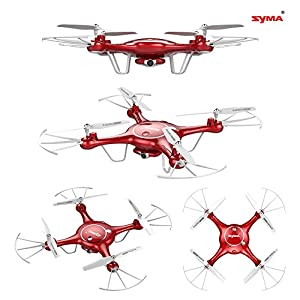 Syma X5UW Wifi FPV 720P HD Camera RC Drones Quadcopter with Flight Plan Route App Control 1-Key Control Headless 360 Flips And Altitude Hold Function Two Battery Included (Red) from Syma