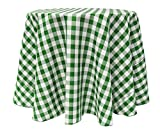 Ultimate Textile (3 Pack) 72-Inch Round Polyester Gingham Checkered Tablecloth - for Picnic, Outdoor or Indoor Party use, Moss and White