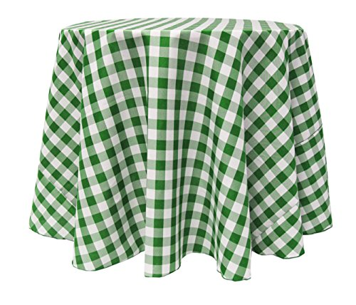 Ultimate Textile 90 Inch Round Polyester Checkered Tablecloth Moss And White  By Ultimate Textile