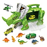 Qiyun Toy Cars Creative Dinosaur Storage Carrier for Toy Animals and Cars Portable Transporter Toys Xmas Gifts for Kids
