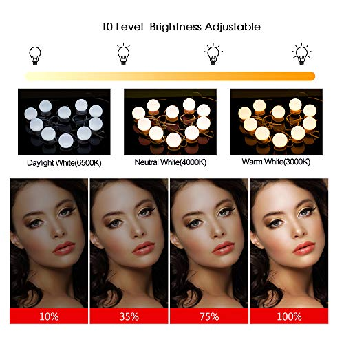 Vanity Mirror Lights Kit,Aourow Hollywood Style LED Makeup Light with Switch and 10 Dimmable Bulbs,USB Cable Design Dressing Table Light with 3 Color Modes & 10 Brightness(No Mirror and USB Charger)