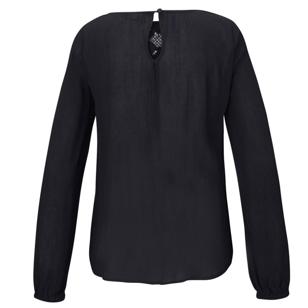 MEIbax Tops Camicetta Donne di Chiffon//Maglietta Donna Estiva Casual//Pullover Manica Lunga di Pizzo Patchwork//Bluse e Camicie Mare//T-Shirt Donna Elegante