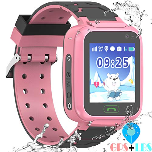 "YENISEY Kids Waterproof GPS Smartwatches Phone - WiFi GPS LBS Tracker Locator 1.4"" Touch Screen Wrist Watch with Call Voice Chat Pedometer Alarm Clock Gifts for Boys Childrens Day Girls"