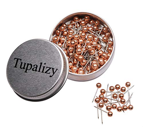 Tupalizy 1/8 Inch Diameter Small Decorative Map Tacks Plastic Head Push Pins with Steel Point, 100PCS (Rose Gold) ()