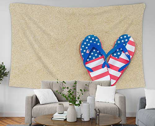 Asdecmoly Wall Tapestry Bohemian, Tapestry Wall Hanging Living Room Bedroom 60 Lx50 W Inches Patriotic USA Background Flip Flops The Sandy Beach Art Printing Inhouse