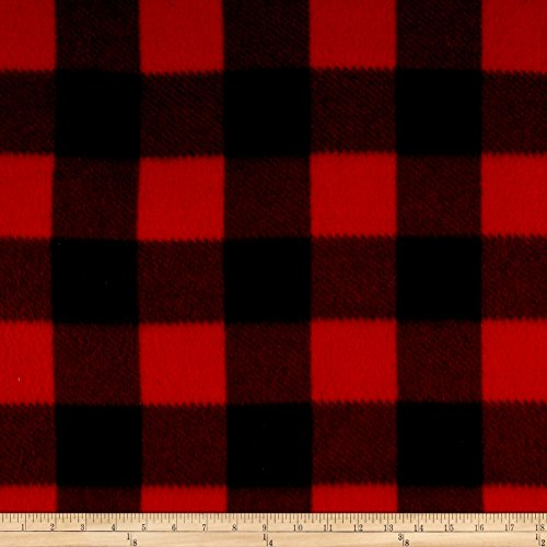 Polar Fleece Kara Check Black/Red Fabric