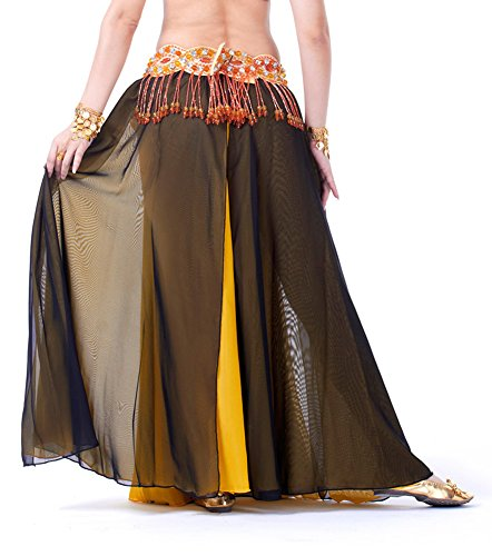 Ideas For Bollywood Dance Costumes (AvaCostume Bollywood Arabic Dance Costume Sides Split Long Skirt, Black Yellow)