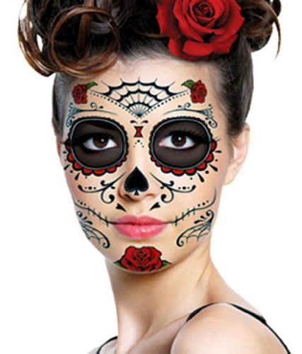 Red roses day of the dead sugar skull temporary face for Fake tattoos amazon