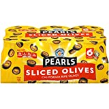 Pearls Sliced Ripe Black Olives, (6) 3.8-Ounce Cans