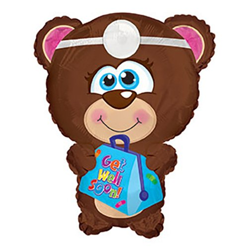 CTI Balloons Foil Balloon 434109 Get Well Soon Bear Shape, 22