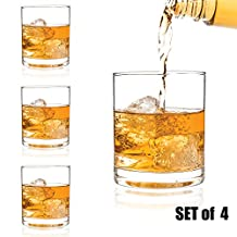 Luxbe - Scotch & Whiskey 11-ounce Glasses, Set of 4 - 100% Hand Blown Lead-free Crystal - Barware Old Fashioned Cocktail Glass Cups -Elegant, Liquor or Bourbon Tumblers