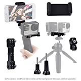 Dual Mount for GoPro Hero with Tripod Adapter and Universal Phone Holder - Record Videos with 2 Different Camera Angles Simultaneously - Steady Shot Photography - Selfies