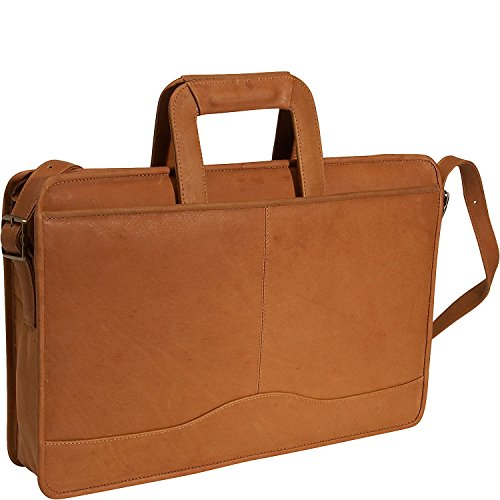 (David King Leather Single Gusset Drop Handle Portfolio in Tan)