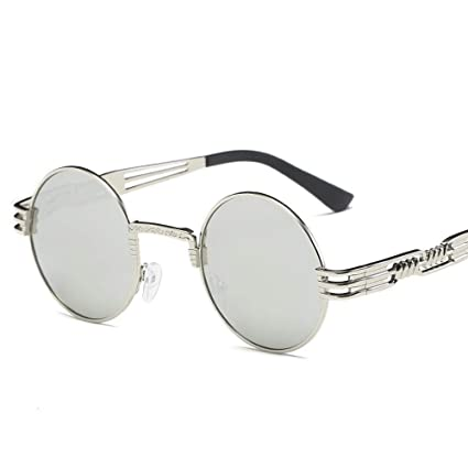 74f4ecdfc8 Pausseo Women Men Vintage Retro Round Frame Glasses Unisex Integrated  Aviator Mirrored Lens Sunglasses Summer Sports