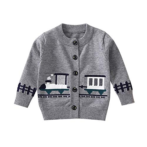 (Birdfly Toddler Baby Kid Girl Button Down Sweater with Cartoon Train Print Fall Winter Knitted Coat (3T, Gray))