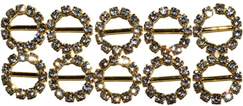 The Buckle Boutique Rhinestone Circle Small Slide Buckle 10mm or 6 Inch Gold (10 Pieces)