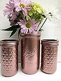 Metallic Rose Gold Painted Mason Jars, Boho Chic Centerpieces, Set of 3