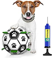 Caseeto Dog Soccer Ball with Grab Tabs Indestructible for Small Medium Large Dogs Indoor Outdoor Dog Toys