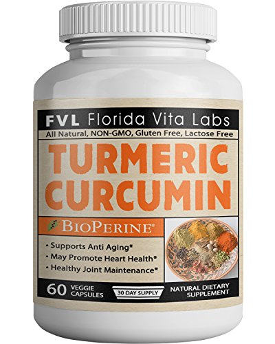 Turmeric Curcumin Supplement Capsules with Bioperine Joint Support and Pain Relief Organic All Natural Antioxidant Gluten Free Lactose Free Non-GMO Pills Made in USA For Sale